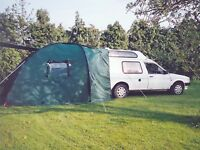 Car awning/tent awning fits directly on to rear of 4x4 people carrier etc.