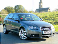 2007 57 AUDI A3 2.0 TDI S LINE SPORTBACK QUATTRO 5DR WITH SATNAV+LEATHER+BOSE++