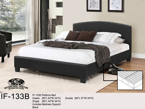 DELUXE PLATFORM QUEEN BED ONLY $249 - BLACK /FREE DELIVERY