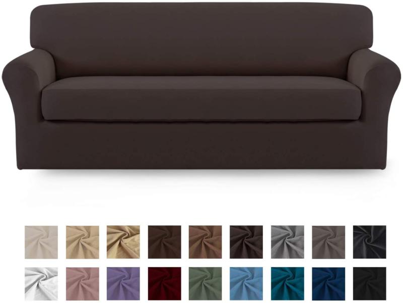 easy going 2 pieces microfiber stretch sofa