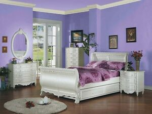 New Youth White Pearl Princess Full Sleigh With Trundle 5 Pc Bedroom Set