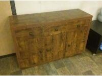 Mango wood effect sideboard with 3 drawers, 2 cupboard etc
