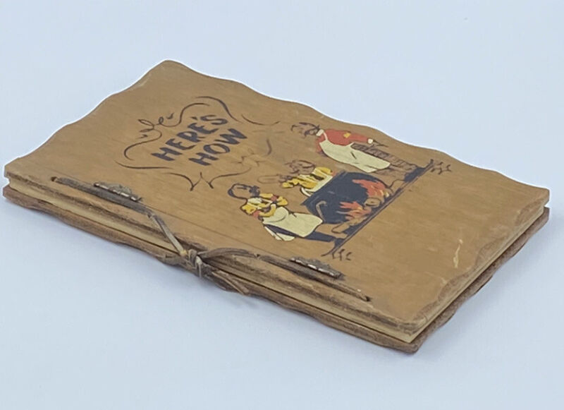 Vintage 1941 Wood Covered Bartender Recipe Book Heres How Mixed Drinks
