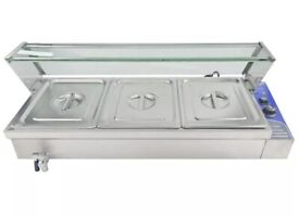 Commercial 3 large pot,electric,gantry style wet well bain marie,food warmer,heated display w/water