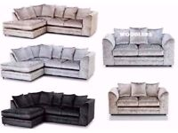 3+2 OR CORNER IN AMAZING DYLAN CRUSH VELVET SOFA IN BLACK/SILVER COLOURS- SAME/NEXT DAY DELIVERY