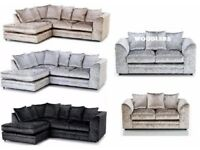 CRUSHED VELVET FABRIC SOFA - DYLAN 3+2 / CORNER SUITE AVAILABLE IN BLACK/ SILVER