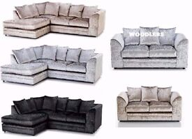 **UP TO 5 YEAR WARRANTY!!** Serene Luxury Crushed Velvet Corner Sofa or 3 and 2 - SAME DAY DELIVERY!