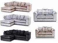 BLACK, SILVER & CHAMPAGNE --- BRAND New Double Padded Dylan Crushed Velvet Corner or 3+2 Sofa