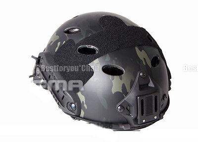 FMA Tactical Airsoft Adjustable Fast Helmet PJ MultiCam Black NVG Mount (Best Cheap Night Vision Goggles)