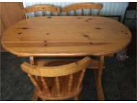 Pine dining table and 3 chairs £35