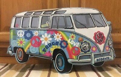 VOLKSWAGEN BUS Metal Hippy Peace Beetle Big VW Plaque Classic Van Groovy Love 1