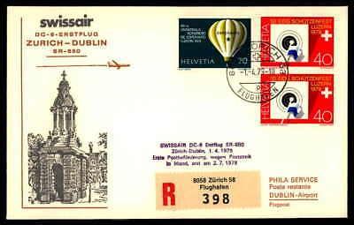 SCHWEIZ FIRST FLIGHT SWISSAIR 1979 ZÜRICH - DUBLIN dg92
