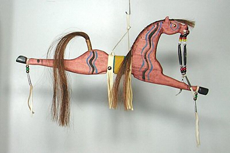 Lakota Sioux Indian HAND~CARVED HORSE Head DANCE STICK: The Lost Horseman