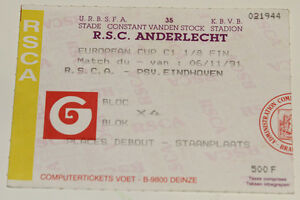 Ticket for collectors CL Anderlecht Brussel - PSV Eindhoven 1991 Belgium Holland - <span itemprop='availableAtOrFrom'>Internet, Polska</span> - Ticket for collectors CL Anderlecht Brussel - PSV Eindhoven 1991 Belgium Holland - Internet, Polska