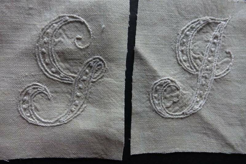 "Antique hand embroidered monograms -  ""G"" & ""J"" on cream linen."