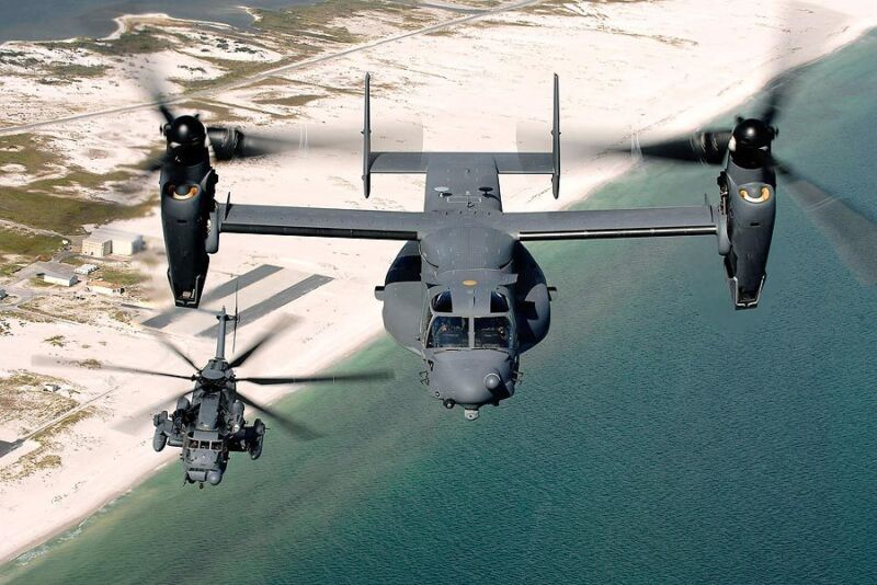 BELL BOEING V-22 AND SIKORSKY MH-53 HELICOPTER 12x18 SILVER HALIDE PHOTO PRINT
