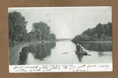 Lyons Iowa Ia Mouth Of The Elk River  Used 1906 Rowboat