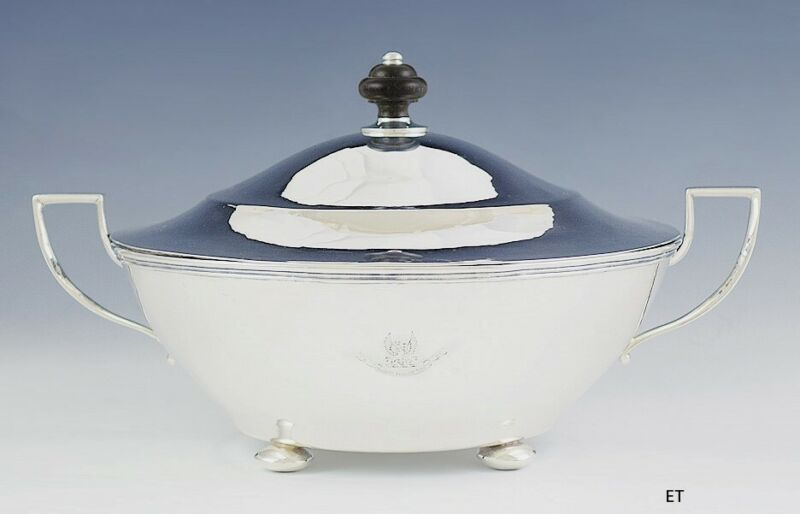 Antique 2 Handle Sterling Silver Covered Entrée Round Serving Dish Tureen