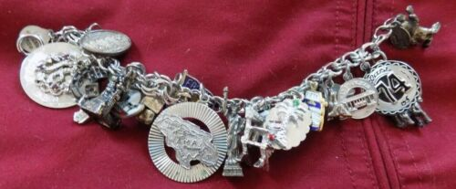 """Silver Charm Bracelet With 21 Charms ~ 7"""" Long"""