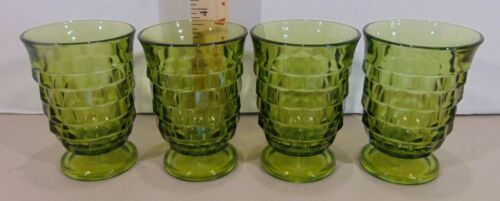 4 Vintage Whitehall Green Glass Colony Cube Juice Glasses Tumblers