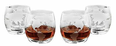 Old-Fashioned 'Etched Globe' 10 Oz Whisky or Brandy DOF Glasses, Set of -
