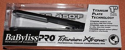 "New BaByliss Pro Titanium Xtreme 1"" straightening hair flat iron 450 degrees NIB"