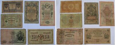 1898-1917, Russian Empire, a set of 6 banknotes: 1-3-5-10-25-250 Rubles