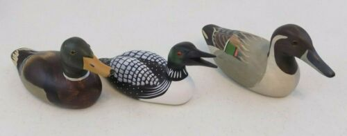 Lot Of 3~Wooden Carved Ducks & Loon~Cabin/Cottage Decor~Lake~Painted