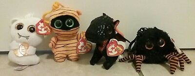 TY Beanie Boos Keychains Lot of 4: Scream, Merlin, Mask and Spidey