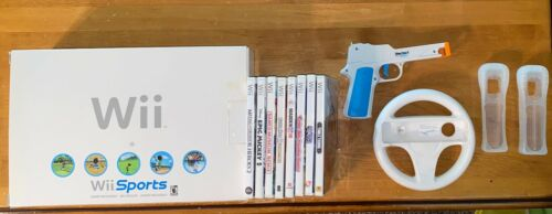 NINTENDO Wii SYSTEM BUNDLE - 2 Controllers, +8 Games Console IN BOX *VERY NICE!*