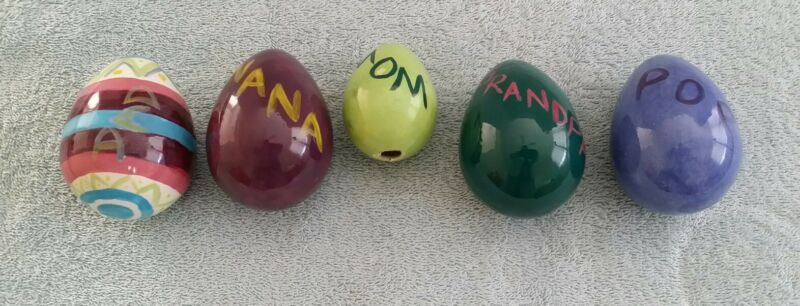 5 Hand Painted Ceramic Easter Eggs Hollow Festive Decorative Names Mom Dad Pop