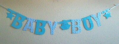 """Buchstaben-Girlande """"Baby Boy"""" zur Geburt, handgefertigt, ca. 82cm lang"""