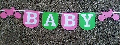 Its a girl, baby shower, birthday. Hot pink/ lime green dirt bike theme banner.