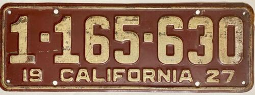 1928 CALIFORNIA License Plate CA #1-165-630