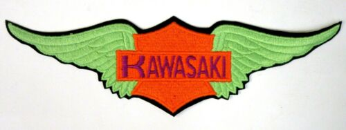 "large KAWASAKI WINGS MOTORCYCLE figural giant 12"" jacket back patch UNUSED"