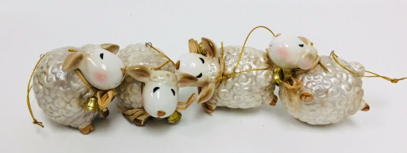 Set Of 4 Ceramic Sheep Christmas Ornaments - C10