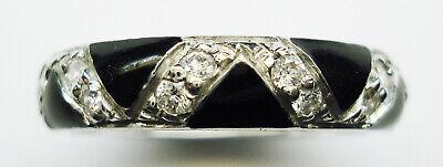 Authentic Hidalgo 18K W Dia Zig-Zag Guard Ring w Blk Enamael RN2232AWG Size 6.5
