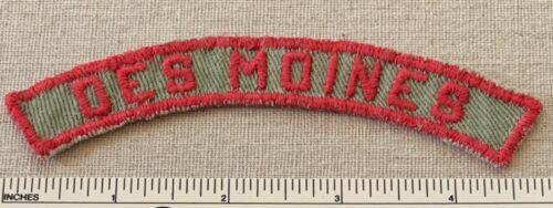 VTG DES MOINES Boy Scout Khaki & Red Community Town Strip PATCH RWS KRS Badge