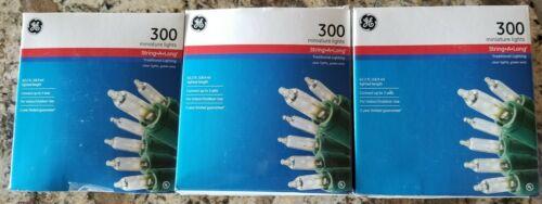 x3 GE White 300 Mini String Lights Green Wire Christmas Wedd