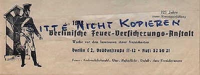 BERLIN Werbung 1937 Berliner Feuer-Versicherungs-Anstalt Auto Feuerwehr Diebstah