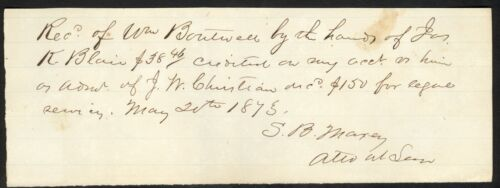 Confederate General Samuel Bell Maxey Autograph