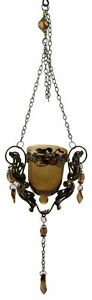 Candle Holder With Hanging Glass Brown With Beads H12cm