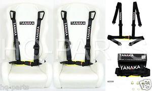 2 X TANAKA UNIVERSAL BLACK 4 POINT BUCKLE RACING SEAT BELT HARNESS
