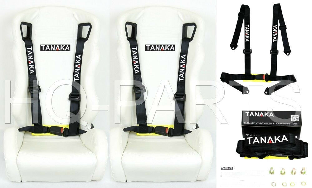 2 X TANAKA UNIVERSAL BLACK 4 POINT BUCKLE RACING SEAT BELT HARNESS