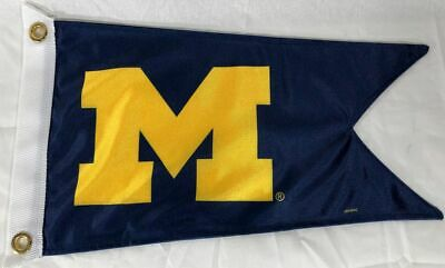 "U of M Burgee Boat Flag 12X18"" NEW Collegiate University of Michigan Wolverines"