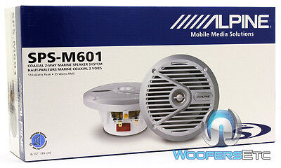 "Alpine Sps-m601 110w 6-12"" 6.5"" 2-way Type-s Marine Coaxial Speakers - Silver 8"