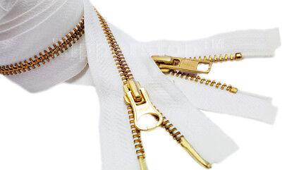 """Metal Zipper YKK #5 """"2-Way"""" Golden Brass Medium Weight Jacket Separating USA"""