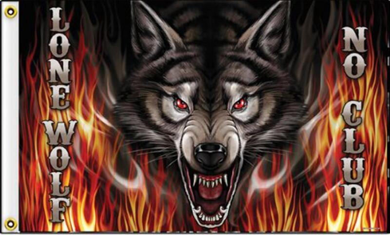 LONE WOLF  FLAMES 3 X 5 MOTORCYCLE DELUXE BIKER FLAG FL418 new wolves rider new