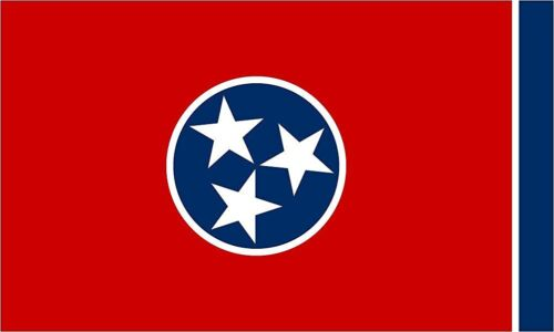 "2"" Tennessee flag. Printed vinyl decal sticker"