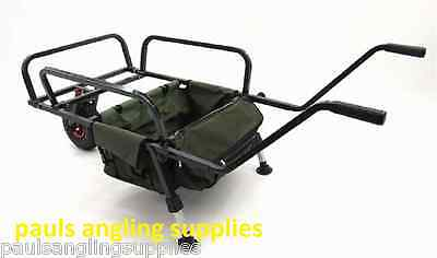 Waterline Carp Fishing Barrow Trolley Built in Carry Bag For Tackle Rod Bag etc